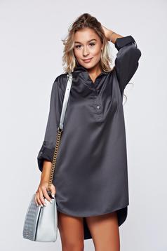 Darkgrey easy cut elegant women`s blouse with long sleeve
