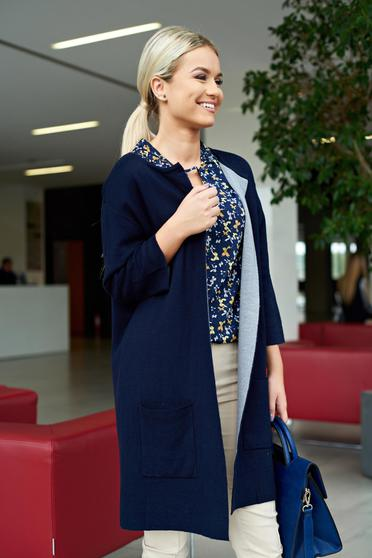 Darkblue casual cardigan with pockets with easy cut