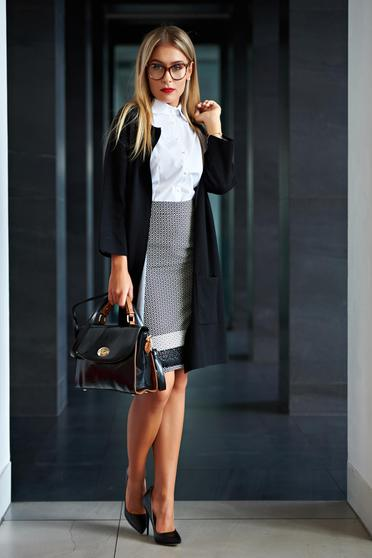 Black casual cardigan with pockets with easy cut