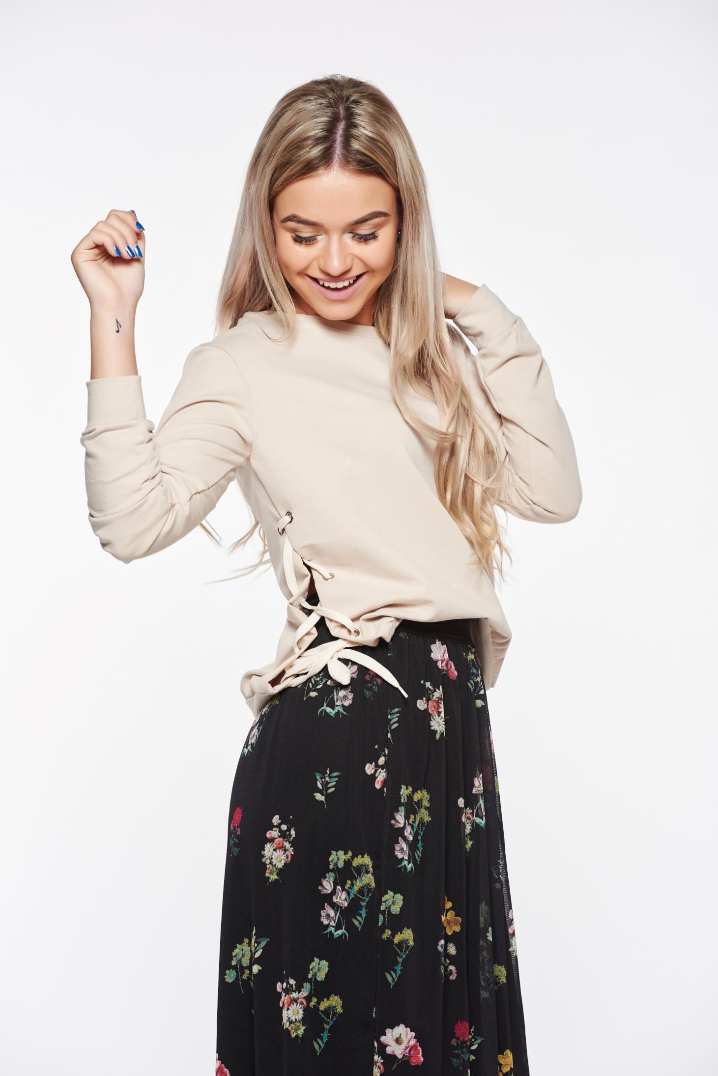 Bluza dama Top Secret piersica casual din bumbac cu croi larg