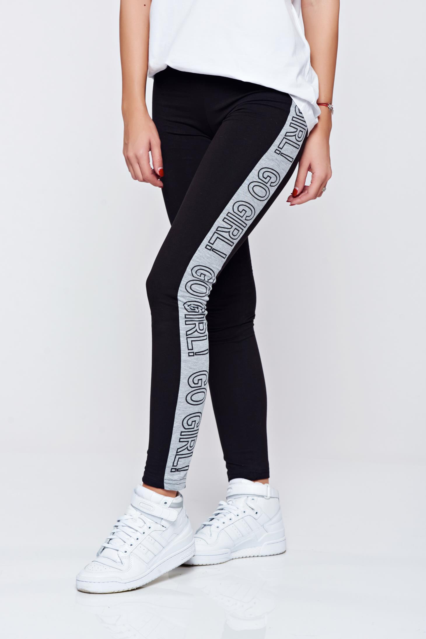 Pantaloni Top Secret negri casual din bumbac cu talie medie