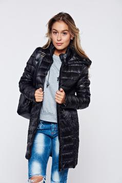 Top Secret black casual slicker jacket zipped sleeves