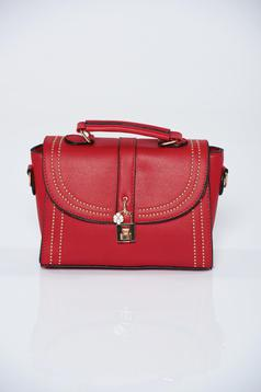 Red ecological leather bag metalic accessory