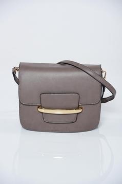 Ecological leather grey casual bag metalic accessory