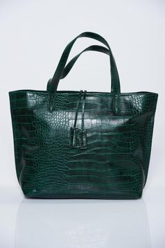 Green bag casual lacquer fabric metalic accessory