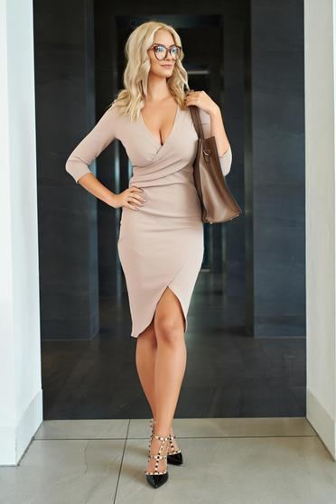 StarShinerS office brown pencil wrap around dress