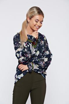 LaDonna darkblue office flared women`s blouse with floral print