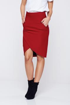 LaDonna burgundy office wrap around skirt with pockets