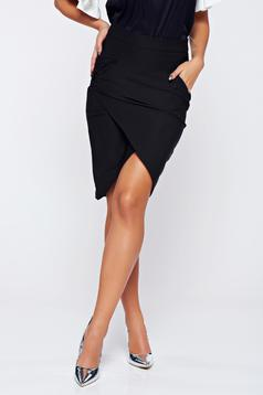 LaDonna black office wrap around skirt with pockets