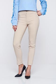 LaDonna cream office conical trousers with pockets