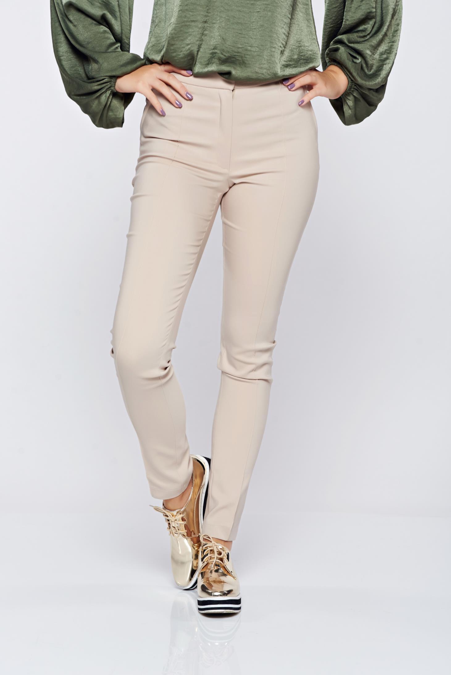 Pantaloni LaDonna crem office conici cu buzunare