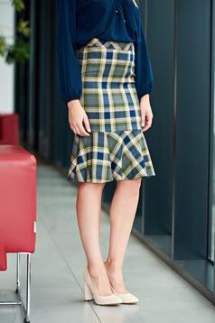 LaDonna office pencil plaid fabric with ruffle details darkgreen skirt