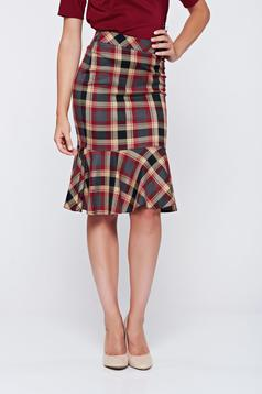 LaDonna office pencil plaid fabric with ruffle details red skirt
