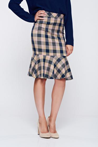 LaDonna office pencil plaid fabric with ruffle details blue skirt