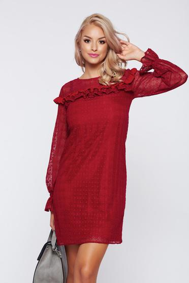 LaDonna burgundy elegant laced dress with ruffle details