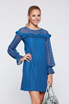 LaDonna blue elegant laced dress with ruffle details