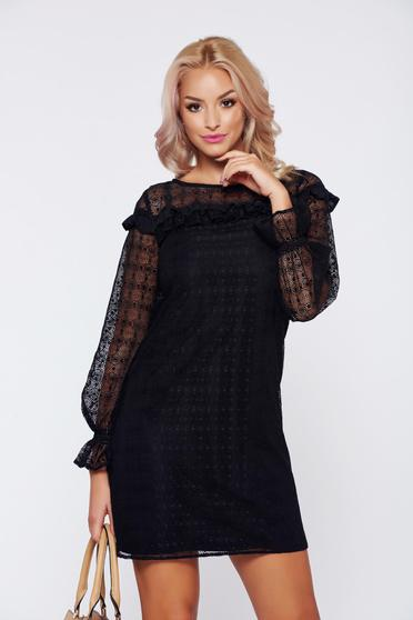 LaDonna black elegant laced dress with ruffle details