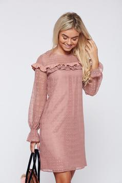 LaDonna rosa elegant laced dress with ruffle details