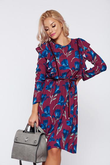 LaDonna burgundy casual flared dress with floral print