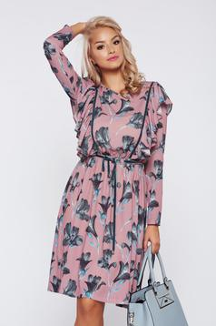 LaDonna cream casual flared dress with floral print