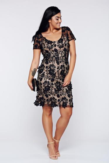 Black dress elegant laced pencil