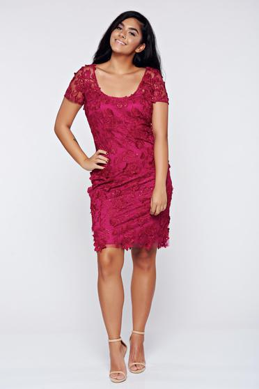 Fuchsia dress elegant laced pencil