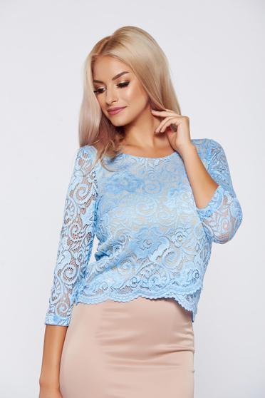 StarShinerS blue elegant laced women`s blouse
