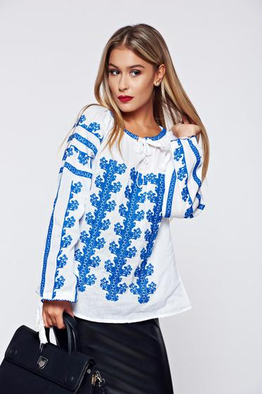 Blue embroidered women`s blouse blouse cotton easy cut