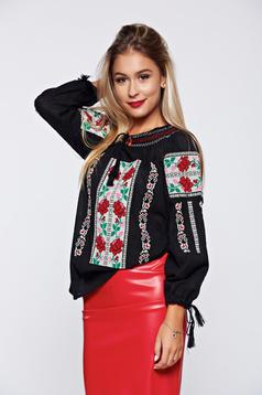 Black embroidered women`s blouse cotton blouse long sleeve