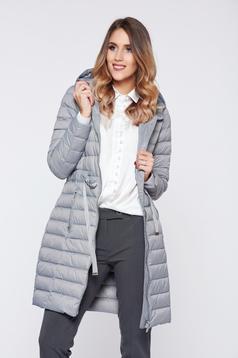 Top Secret grey casual slicker jacket with zipper details pockets