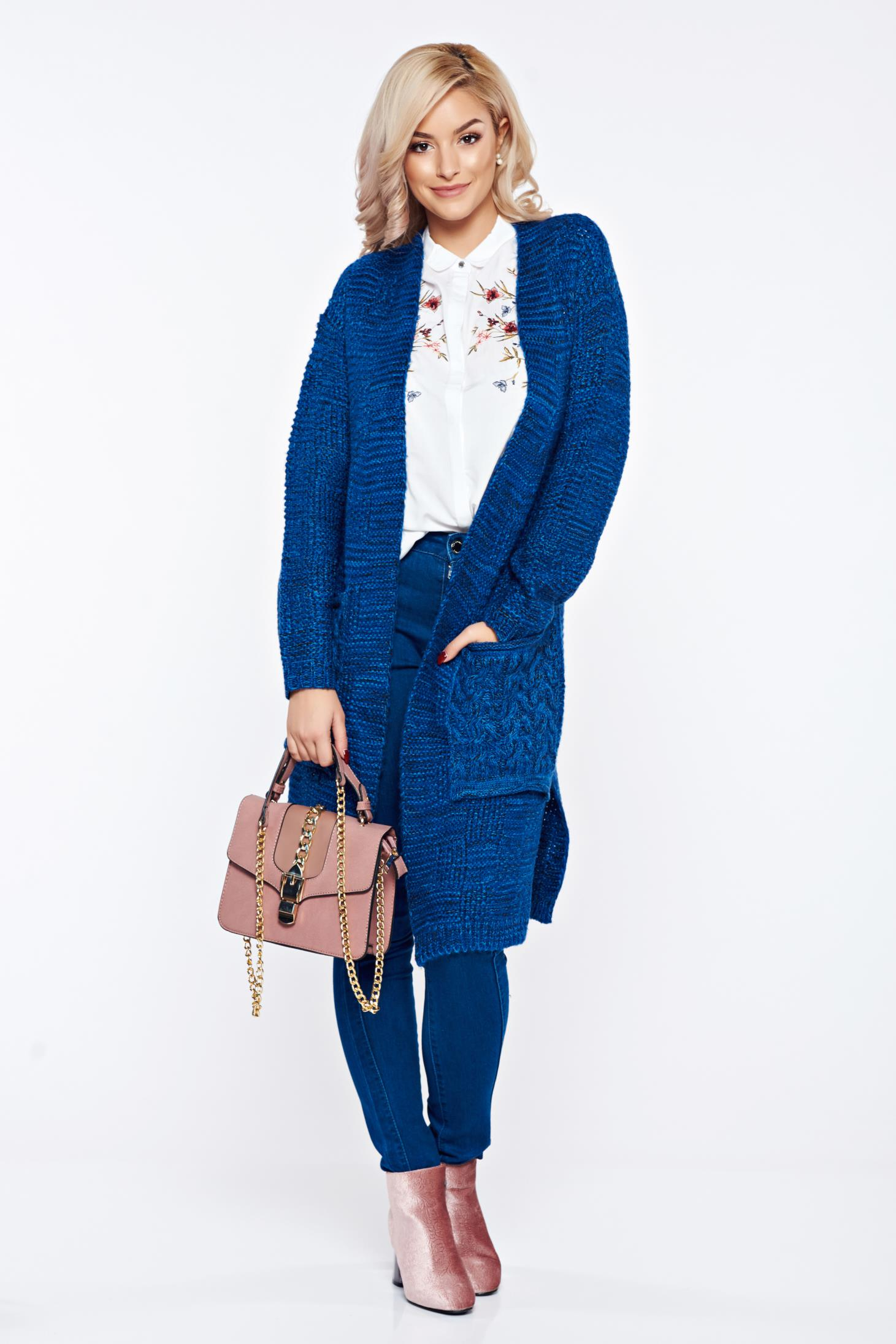 Cardigan Top Secret albastru-inchis casual cu buzunare