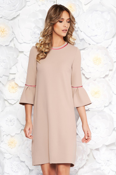 StarShinerS cream office with easy cut dress with bell sleeve