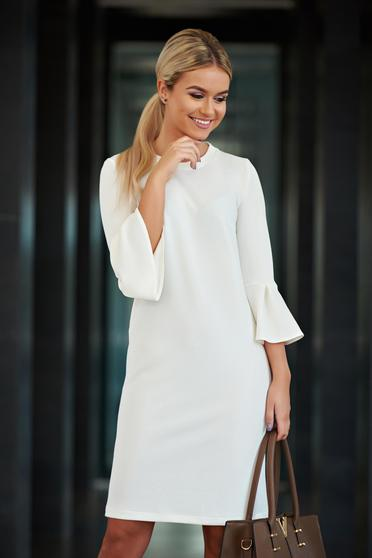 StarShinerS white office easy cut dress with bell sleeve