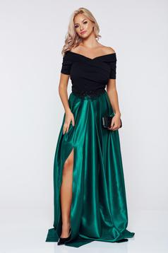 Occasional Artista green dress with satin fabric texture embroidery details