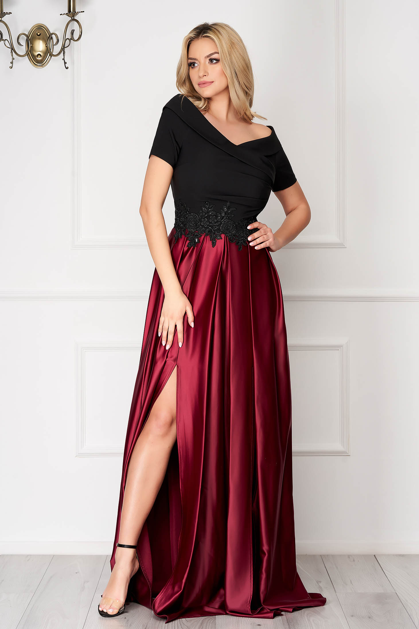 Occasional burgundy dress with satin fabric texture embroidery details