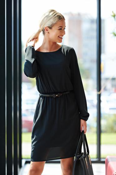 StarShinerS black dress voile fabric with elastic waist daily with inside lining