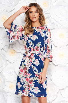StarShinerS blue elegant daily voile fabric dress with floral prints