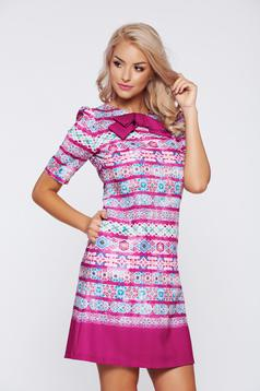 Fofy easy cut fuchsia office dress with pockets
