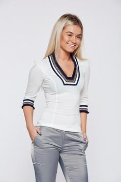 Fofy cotton white office women`s shirt with embroidery details