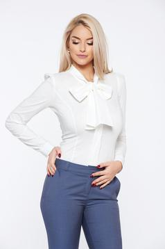 Fofy office white cotton women`s shirt without buttons