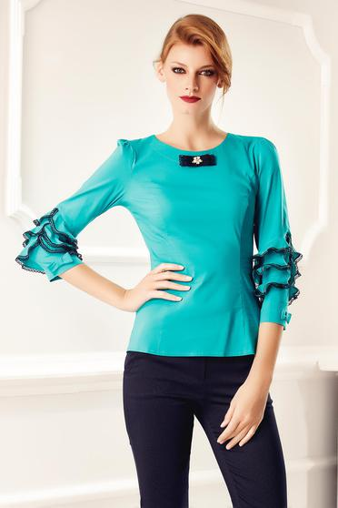 Fofy office turquoise women`s shirt lace details without buttons