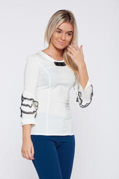 Fofy office white women`s shirt with lace details without buttons