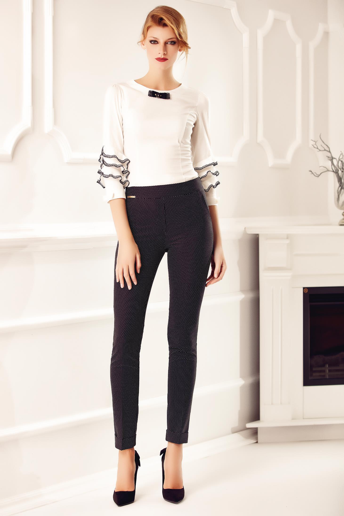 Fehér Fofy irodai gomb nélküli női ing csipke díszítéssel a510703727