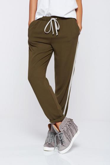 PrettyGirl darkgreen casual trousers with pockets and elastic waist