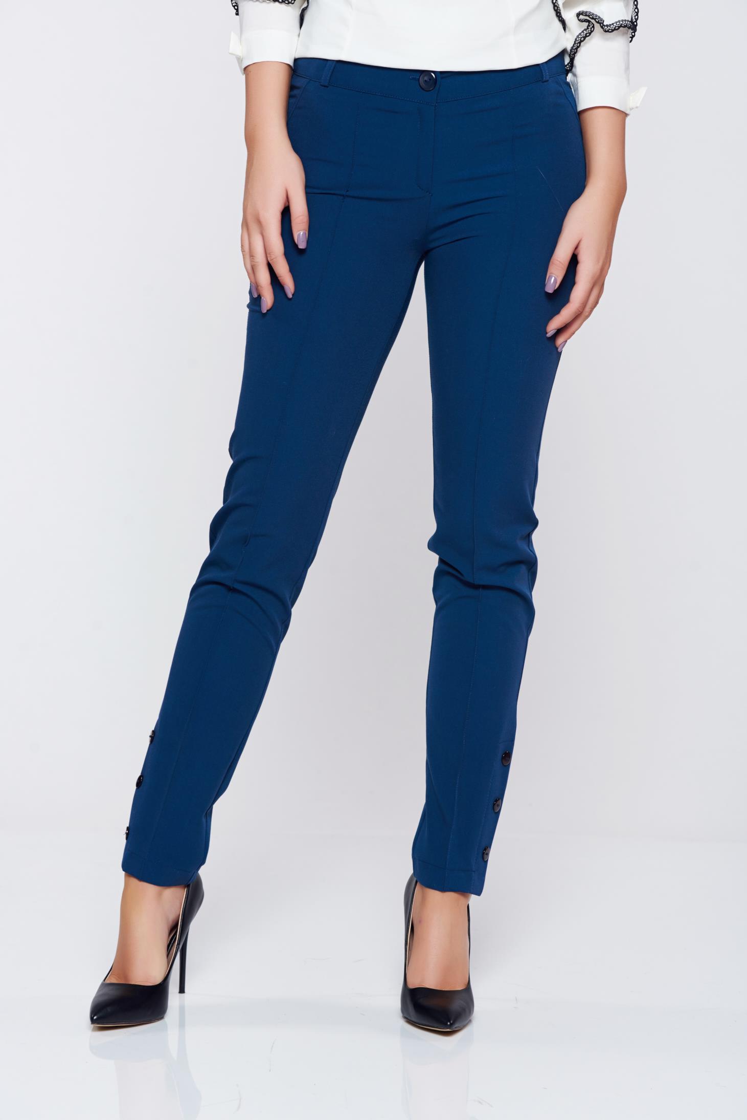 Pantaloni PrettyGirl albastru-inchis office conici cu talie medie