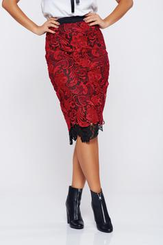 StarShinerS red elegant pencil knitted lace skirt
