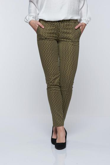 PrettyGirl green casual conical trousers with geometrical print