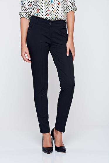 PrettyGirl office black conical trousers with medium waist