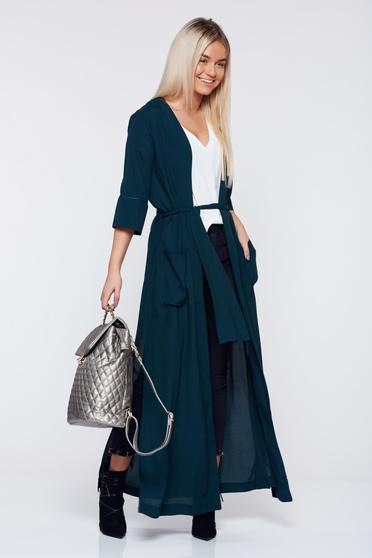 PrettyGirl long darkgreen casual jacket accessorized with tied waistband