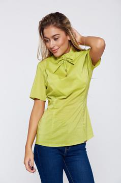PrettyGirl office green women`s blouse short sleeve